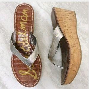 Sam Edelman Romy Silver Metallic Leather Sandals